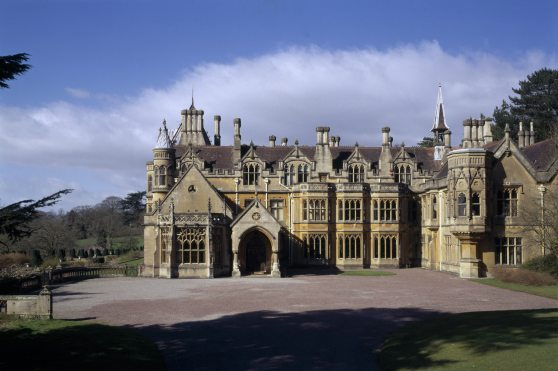 A close view of the East Front of Tyntesfield, North Somerset, showing the Library to the left, the porch and the first floor Turret Room to the right