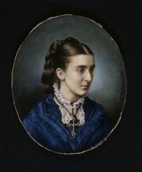 ALBINIA GIBBS a miniature by Antonio Tomasich y Haro, 1876, at Tyntesfield, North Somerset