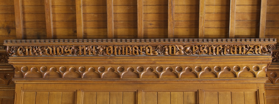The carved frieze inscription in the Library at Tyntesfield, North Somerset